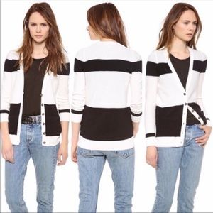 Madewell Inlet color block cardigan white black M